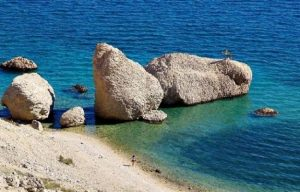 Secret beach with rocks on Pag Island