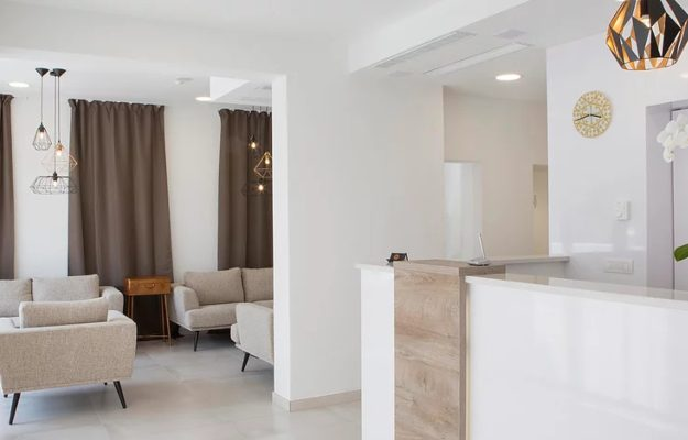 Reception and Lounge of Intermezzo Hotel on Pag Island Croatia